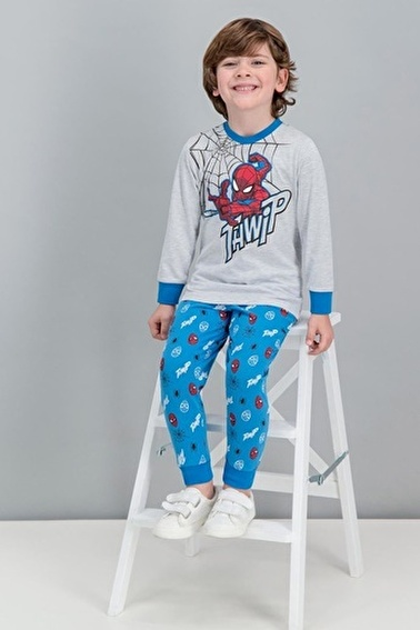 Spider-Man Spider Man Lisanslı Kırmızı Erkek Çocuk Pijama Takımı Gri